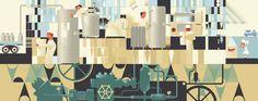 Mads-berg mural for Hansens ice cream factory Creative Illustration, Graphic Illustration, Illustrations, Ice Cream Factory, Hansen Is, Retro Images, Branding Design, Art Deco, Inspiration