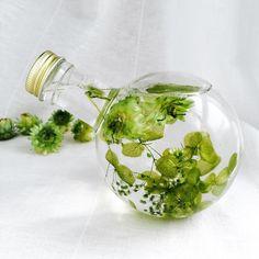 清々しい新緑のハーバリウムランプ Flowers In Jars, Floating Flowers, Dried Flowers, Botanical Interior, Plant In Glass, Homemade Essential Oils, Epoxy, Paint Color Schemes, Dried Flower Arrangements