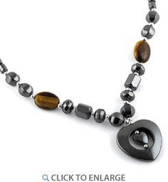 "18"" Double Heart Tiger Eye Stone Hematite #Necklace * $4.44 Hematite Necklace, Eye Stone, 18th, Heart, Metal, Metals, Hearts"