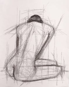 """Catalina Viejo Lopez De Roda; Drawing, """"Seated Figure Back Profile - Charcoal Sketch Drawing on Paper"""" $185 #art #drawing #blackandwhite"""