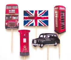 British Themed Cupcake Toppers - Set of 10 Picks London Theme Parties, British Themed Parties, British Party, Car Themed Parties, London Party, Period Party, Wales, Thinking Day, British Invasion