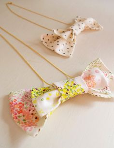hanabi fabric bow tie necklace by frumafar fabrics, japan $12