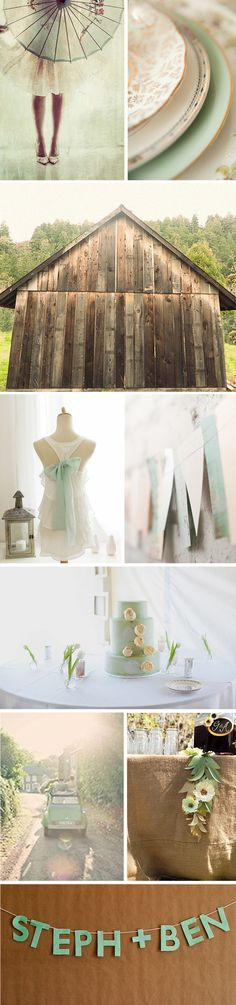 Gorgeous dusty mint wedding - love the white top with the bow, such a cute idea for the rehearsal dinner dress - white with a touch of your color for the next day.