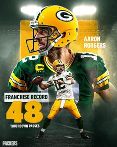 Legendary. Aaron Rodgers finishes the regular season with a franchise-record 4️⃣8️⃣ touchdown passes. #GoPackGo | #MVP Go Pack Go, Aaron Rodgers, Green Bay Packers, Football Helmets, Seasons, Instagram, Seasons Of The Year