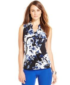 Alfani Sleeveless Floral-Print High-Low Top, Only at Macy's