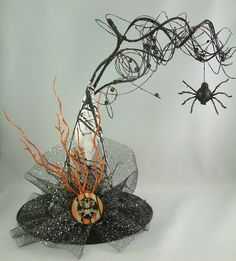 MAKE IT IN RED! halloween photos red witches hat | think this necklace will work perfectly. The spider on the top is ...