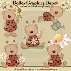 Ladybug Bears - $1.00 : Dollar Graphics Depot, Your Dollar Graphic Store