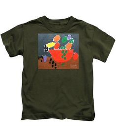 Patrick Francis Designer Kids Military Green T-Shirt featuring the painting Bowl Of Fruit 2014 by Patrick Francis