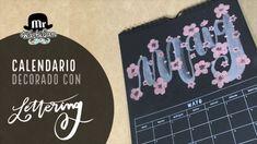 Calendario decorado con lettering Mayo y flores de acuarela perlescente