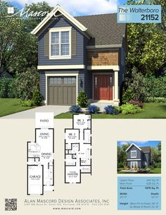 This is a wonderful new narrow home, just added to the Mascord collection of house plans. It's perfect for urban infill, or zero lot-line situations - and oozing curb-appeal! plans Cottage House Plan 21152 The Walterboro: 1475 Sqft, 3 Beds, Baths Layouts Casa, House Layouts, Narrow Lot House Plans, Modern House Plans, Cottage House Plans, Cottage Homes, Craftsman Cottage, Sims House Plans, New House Plans