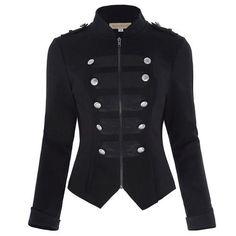 4ba9f403ecd10 Autumn Long Sleeve Women Military Jacket Outerwear Harajuku Slim Buttons  Zipper Streetwear Coat Tops Victorian Steampunk