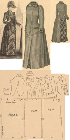 Der Bazar 1889: Wintertime promenade dress from brown solid cloth and brown-blue-green plaid cloth; 34. bodice's insertion front, 35. jacket's front, 36. pocket, 37. and 38. side gores, 39. back part in half size, 40. skirt's front part, 41. skirt's back gore, 42. collar in half size, 43. back lapel in half size, 44. sleeve, 45. cuff in half size