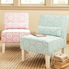 """Suite Bedroom chair: $ 159 (sale)Bright floral medallions give this supercomfy chair outspoken style. With a thick cushion and wide back, it's easy to sink into and it offers great support.  25"""" wide x 31.25"""" deep x 33.5"""" high"""