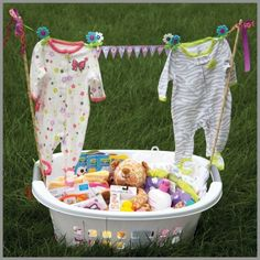 Making a cute new baby basket with a plastic laundry basket. Ideas on Sterilite's blog.