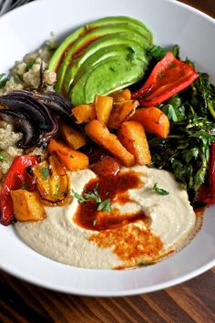 Quinoa Power Bowls with Avocado, Hummus and Smoked Paprika Vinaigrette | Sweet…