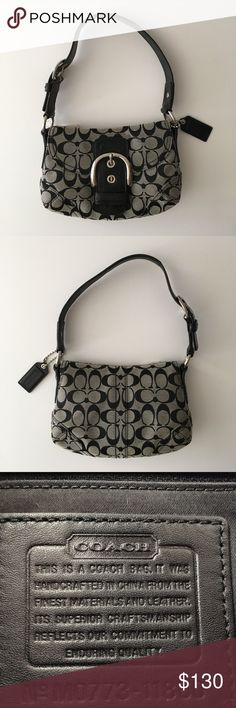 Coach Signature Buckle Flap Authentic Coach Black/White Signature buckle flap handbag. Buckle strap with interior zipper pocket and 2 slot pockets inside. One of the strap metal rings have some scratches to it. (See last pic)  See pics for measurements. Coach Bags