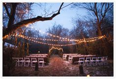 Dusk ceremony with simple string lights | Jessica Fern Facette