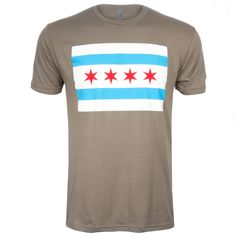 Chicago Men's Charcoal Chicago Flag Tee-Shirt - A Clark Street Sports Exclusive Chicago Shirts, Tee Shirt, Charcoal, Flag, Street, Sports, Mens Tops, Hs Sports, Tee