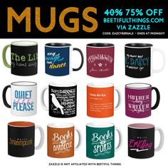 Mugs are now 75% OFF when you use code ZAZCYBERSALE. Find mugs 4 BOOKLOVERS @ http://beetifulthings.com  #books #author #writer #bookworms #sale #cybermonday #booklovers