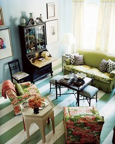 Gorgeous and brave by John Loecke of Madcap Cottage Inc. Bringing some Palm Beach joie de vivre to his Brooklyn townhouse. How much do you adore that green and white painted stripe floor? Bottled happiness.