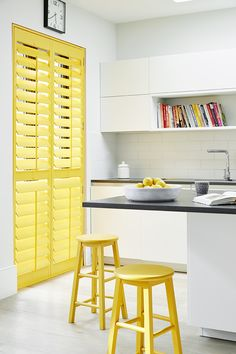 Full height window shutters look fantastic in any room, and combine light with privacy. Get a quick, easy quote for your window shutters. Interior Design Magazine, Best Interior Design, Patio Door Coverings, Rainbow Kitchen, Yellow Interior, Wood Blinds, Interior Stylist, Love Home, Mellow Yellow