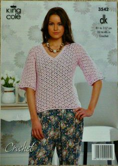 C3542 Crochet Pattern Ladies V-Neck 3/4 Sleeve Top DK (Worsted) King Cole on Etsy, £3.21