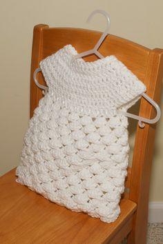 Items similar to Crochet baby dress - white newborn girl dress with ribbon on Etsy Crochet Girls, Crochet Woman, Love Crochet, Crochet For Kids, Beautiful Crochet, Knitted Baby Clothes, Crochet Clothes, Crochet Crafts, Crochet Yarn