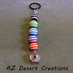 Crown PV MOD Charm with Candy Striped Acrylic Beads Handmade Dangle | DesertCreations - Accessories on ArtFire