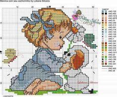 Muñecas Baby Cross Stitch Patterns, Cross Patterns, Cross Stitch Charts, Cross Stitch Designs, Cross Stitch Family, Mini Cross Stitch, Cross Stitch Animals, Dog Crafts, Baby Crafts