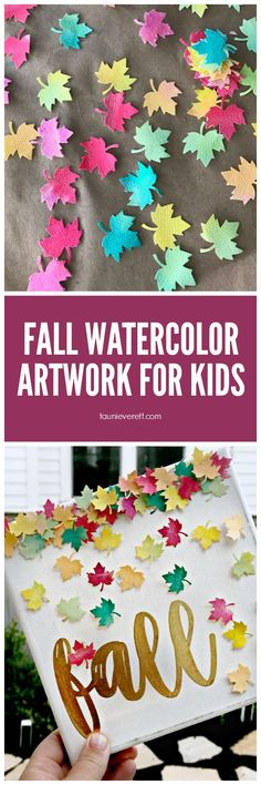 Fall watercolor art for kids. This is the perfect project for any age and looks great on display in the home #watercolor #kidscrafts #kidsart #fall