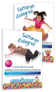 """Espainens ja és una realitat. Aquest any 2013, el nou parc infantil ha obert les seves portes a Girona, al costat del centre comercial Espai Gironès. Hem estat els encarregats de crear-ne la imatge corporativa que, sota el concepte """"Saltaran d'alegria"""", s'ha traslladat a la decoració del local, als articles de marxandatge, als suports i accions comunicatives, així com a la web i les xarxes socials."""