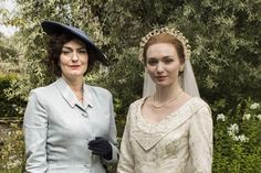 Anna Chancellor and Eleanor Tomlinson in Ordeal by Innocence Ordeal By Innocence, Eleanor Tomlinson, Movie Costumes, Agatha Christie, Period Dramas, Great Movies, Movie Tv, Ruffle Blouse, Clothes