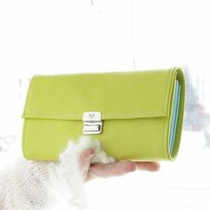 leather accordion wallets for women lime green and colorful