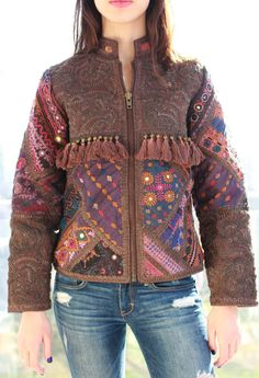 Buy a one-of-a-kind embroidered leather jacket, handmade by Artisans in India. Our jackets are made using unique patchworks of vintage banjara fabric. Embroidered Leather Jacket, Leather Tassel, Tassels, Artisan, India, Boho, Fabric, Sweaters, How To Make