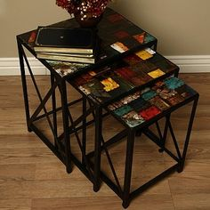 Set of 3 Iron Vintage End Tables (India) $119.99