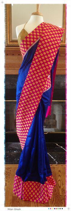 Raw silk saree with woven Banarsi border.