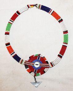 AFRICAN MAASAI MASAI BEADED ETHNIC TRIBAL COLLAR NECKLACE JEWELRY - KENYA 52 #Maasai