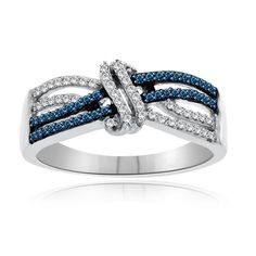 Blue Diamond Crossover Ring