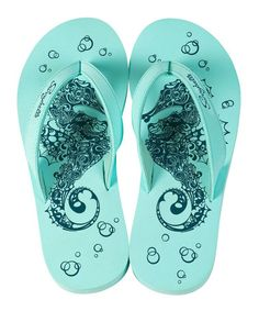 Another great find on #zulily! Mint Salty Seahorse Flip-Flop - Women by Sunnybelle #zulilyfinds