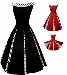 Aprils 50s Rockabilly Classy Black Vintage Swing Evening Cocktail Party Dress: $64.99