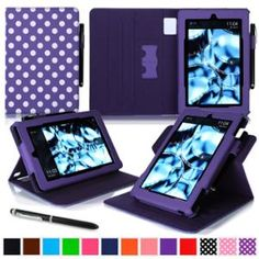 Kindle Fire HD 7 Tablet (2014) Case, roocase new Kindle Fire HD 7 Dual View Folio Case with Sleep / Wake Smart Cover Stand for All-New 2014 Fire HD 7 Tablet (4th Generation), Polkadot Purple