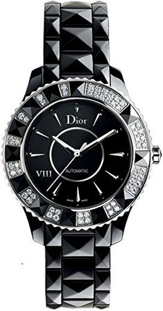 Christian Dior Women's CD1235E0C001 Black Eight Analog Display Swiss Automatic Black Watch   	  	    	  	$ 4,394.50 Product Features Black automatic dial and diamond bezel Ceramic case and bracelet Swiss-automatic movement Case diameter: 33mm Water resistant to 165 feet Product Description Black high-tech ceramic case (33 mm in diameter, 10 mm thick), Transparent screw-in caseback, Unidirectional rotating bezel set with 56 diamonds and black ceramic pyramids, Black dial, Silverto..