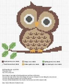 FREE cute owl cross stitch pattern.: