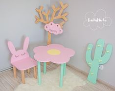 Each item is hand made and hand painted. Toddler Chair, Baby Chair, Diy Kids Furniture, Nursery Furniture, Wood Nursery, Furniture Design, Kids Hangers, Baby Dekor, Cactus Decor