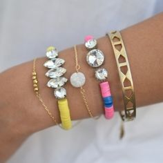 Make this colorful rhinestone bracelet in a few easy to follow steps! (via SwellMayde)