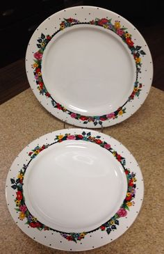 Details about WOW (2) At Home with Mary Engelbreit u0027ALWAYSu0027 Sakura 12 3/8  Charger Chop Plates & Details about LQQK! (2 PCS) Ceramisia Italy SEASIDE BOAT SCENE (1) 9 ...