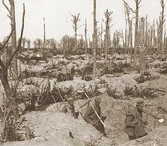 Colour and Life in a Devastated Landscape: German soldiers carrying ladders through trenches in a smashed up wood on the Ypres Salient battlefield, Ww1 History, Military History, World War One, First World, Remembrance Day Poppy, Bushcraft Gear, Flanders Field, War Photography, Lest We Forget