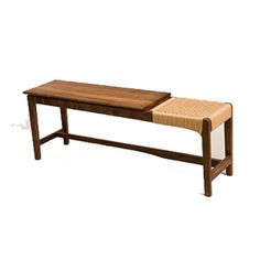 Walnut Bench with Rattan Seat