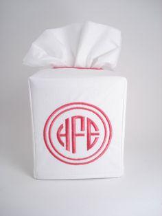 Soft White Monogrammed Tissue Box Cover by OctaviaStreet on Etsy, $14.00