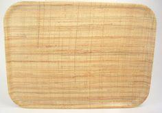 Mid Century Fiberglass Tray Burlap Pattern Tan & Brown 16.5 x 12 Inches
